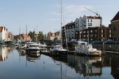 Gdansk Marina, Poland. Gdansk, Poland - May 10, 2018: Sailboats and luxury yachts moored in marina in Gdansk, Poland Stock Image