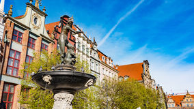 GDANSK, POLAND : Neptune statue and fountain in the old town of Gdansk Stock Photo