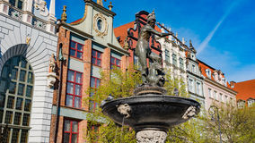 GDANSK, POLAND : Neptune statue and fountain in the old town of Gdansk Royalty Free Stock Images