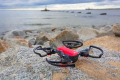 DJI Spark ready to fly at Baltic Sea Stock Images