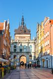 Golden gate and Prison Tower at Dluga Street in the old city center in Gdansk, Poland. Gdansk, Poland, October 14, 2018: Golden gate and Prison Tower at Dluga stock image