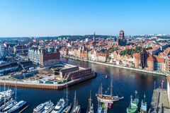 Gdansk old city, Poland. Aerial view with main monuments, ruins. Gdansk, Poland. Old city with the oldest medieval port crane Zuraw in Europe, St Mary church Stock Photo
