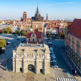 Poland. Gdansk old town with city gates royalty free stock photo