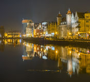 Gdansk, Poland, old city, town at night. Stock Images