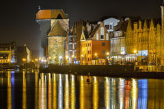 Gdansk Poland old city, town at night . Royalty Free Stock Photos