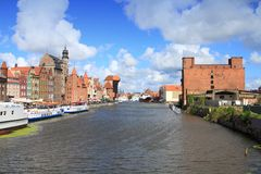 Gdansk. Poland - Gdansk Old Town in Pomerania region. River view with famous wooden crane Stock Image