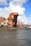 Gdansk, Poland. Poland - Gdansk Old Town in Pomerania region. River view with famous wooden crane Royalty Free Stock Photography