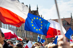 Gdansk, Poland, 05.03.2016 - people with flags of European Union Royalty Free Stock Photography