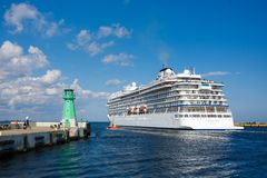 Cruise ship in the harbor of Gdansk Stock Image