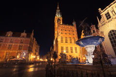 Gdansk,Poland-September 19,2015:Gdansk by night in Poland, Old T Royalty Free Stock Photo