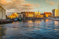 Gdansk,Poland-September 19,2015:The old town in Gdansk at dusk.  Royalty Free Stock Images