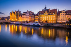 Gdansk,Poland-September 19,2015:The old town in Gdansk at dusk Stock Photos
