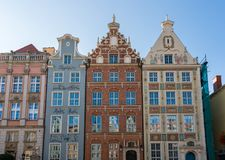 Restored homes on Long Lane in Gdansk, Poland. GDANSK, POLAND - 16 SEPTEMBER: Restored houses on Long Lane on 16 September 2017 in Gdansk, Poland. The route was Royalty Free Stock Photography