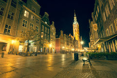 Gdansk,Poland-September 19,2015:The tower of Town Hall and main Stock Images