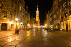 Gdansk,Poland-September 19,2015:The tower of Town Hall and main Royalty Free Stock Images