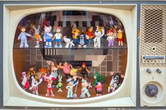 Vintage dummy TV with cartoon characters from the past, Poland. Gdansk, Poland - September 1, 2018: Vintage dummy TV with cartoon characters from the past royalty free stock photos