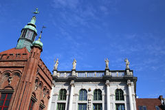 Gdansk, Poland. Top of middle-century building facade Royalty Free Stock Photos