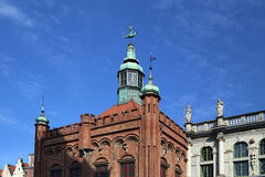 Gdansk, Poland. Top of middle-century building facade Royalty Free Stock Images