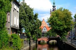 Gdansk in Poland. View from Elzbietanska Street to the Bridge of Love Stock Images