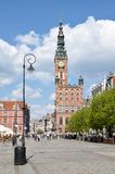 Gdansk, Poland. View to Gdansk City Hall from main Old Town Street Stock Photography