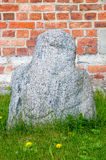 Gdansk Polen - April 27, 2017: Anthropomorphic skulptur vet som en Prussian hagga från Jedrychowo Arkivbilder