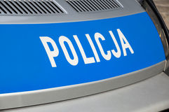 Gdansk, Polen - April 27, 2017: De inschrijving van de Policjapolitie op grijze auto Royalty-vrije Stock Foto