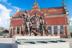 Gdansk Polen - April 18, 2017: Kindertransport minnesmärke som lokaliseras på den Gdansk Glowny järnvägsstationen Royaltyfri Fotografi