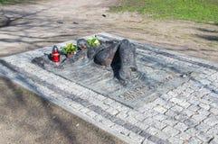Gdansk Polen - April 18, 2017: Monument av offer av krigslagar i Polen Arkivbild