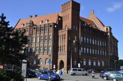 Gdansk Polen-august 25: Historisk byggnad (National Bank av Polen) i Gdansk från Polen fotografering för bildbyråer