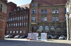 Gdansk Polen-august 25: Historisk byggnad (National Bank av Polen) i Gdansk från Polen royaltyfri foto