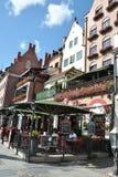Gdansk, 25 Polen-Augustus: Oude Huizen op kade van Motlawa-rivier in Gdansk van Polen Royalty-vrije Stock Afbeelding
