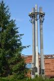 Gdansk, Polen Een mening van een monument aan de gestorven arbeiders van scheepswerf royalty-vrije stock fotografie