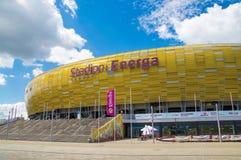 Gdansk Polen - Juni 14, 2017: Fotbollsarena Energa i Gdansk byggde för euroet 2012 i Polen och Ukraina Royaltyfri Foto
