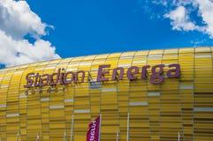 Gdansk Polen - Juni 14, 2017: Fotbollsarena Energa i Gdansk byggde för euroet 2012 i Polen och Ukraina Royaltyfri Fotografi