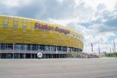 Gdansk Polen - Juni 14, 2017: Fotbollsarena Energa i Gdansk byggde för euroet 2012 i Polen och Ukraina Fotografering för Bildbyråer