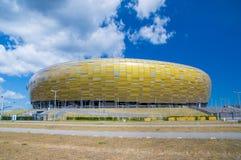 Gdansk Polen - Juni 14, 2017: Fotbollsarena Energa i Gdansk byggde för euroet 2012 i Polen och Ukraina Arkivfoton