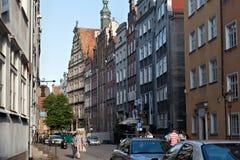 GDANSK, POLEN - JUNI 07, 2014: Historische Chlebnicka-straat in Hoofdstad in Gdansk De straat in 1337 reeds wordt vermeld die Stock Afbeelding