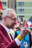 Gdansk Polen, 05 03 2016 - Mateusz Kijowski (KOD) uppvisning Arkivbild