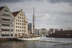 GDANSK POLEN - 13. OKTOBER 2016: Jachthafen in Motlawa-Fluss in Gd Stockfotografie