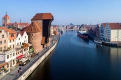 Gdansk, Polen Oude stad en Motlawa-Rivier Lucht Mening stock afbeelding