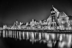 Gdansk Polen på natten Royaltyfria Foton
