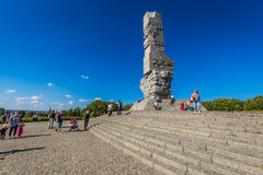 Gdansk Polen-September 19,2015: Besökare informeras om handlingar Royaltyfri Bild