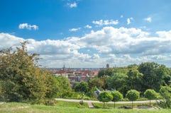 Gdansk Polen - September 2, 2016: Panorama av Gdansk på den Gradowa kullen Royaltyfria Bilder