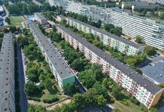 Gdansk polish city, block flat houses, high density, trees, aerial view.  stock photography