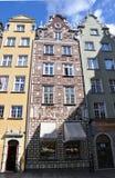 Gdansk, Polonia 25 de agosto: Fachada de los edificios históricos céntrica en Gdansk de Polonia Fotos de archivo libres de regalías