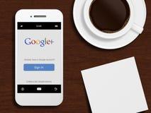 Gdansk, Polonia - 24 de octubre de 2014: teléfono móvil con Google más Imagen de archivo libre de regalías