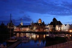 Gdansk przy noc Zdjęcia Royalty Free