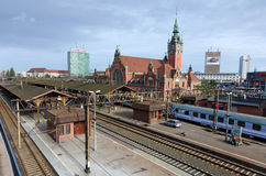 Gdansk railway station with entering train Royalty Free Stock Photos