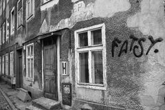 Gdansk residential backyard. Artistic look in black and white. Stock Images