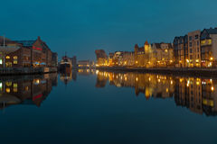 Gdansk of Riverside at night. The riverside with the characteristic crane of Gdansk, Poland Stock Photo